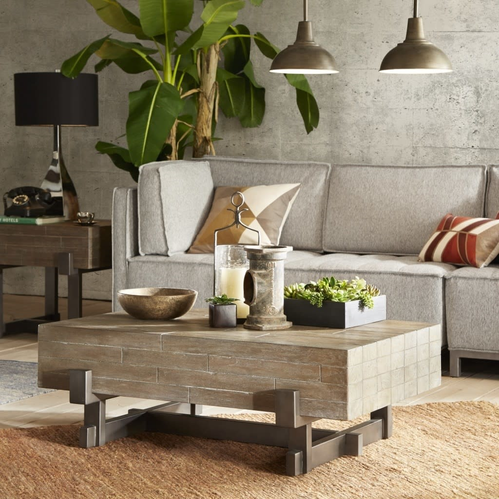 Timber Coffee Table Reclaimed Brown/Gun Metal