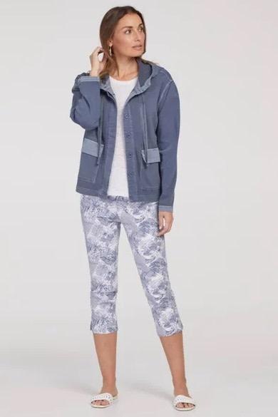 Tribal Hooded Jacket with Pockets BlueHaze