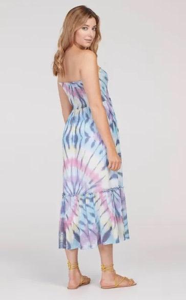 Tribal Tie Dye Sundress w/ Removable Straps Surf Blue