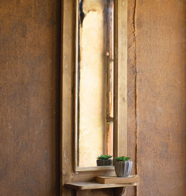Tall Rect Wood Mirror with Shelf