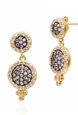 Freida Rothman Pave Double Disc Drop Earrings Gold