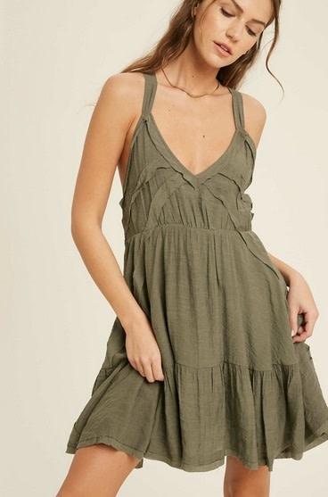 Casual Sleeveless Mini Dress Olive