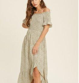 Smocked Off Shoulder Maxi Dress Olive