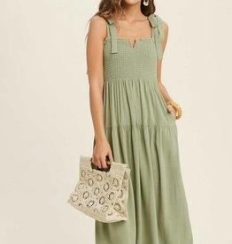 Shoulder Tie Smocked Midi Dress Sage