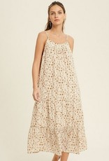 Floral Print Button Detail Midi Dress Cream Combo