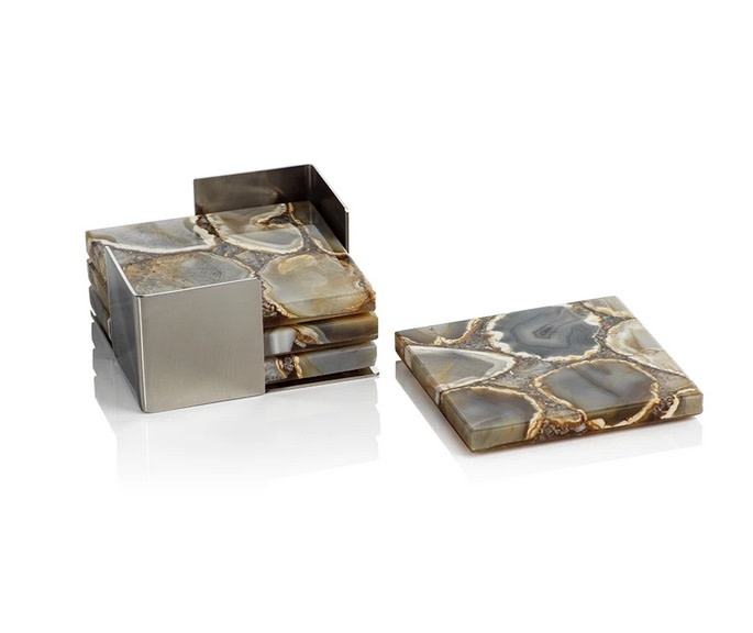 Crete Agate Coasters on Metal Tray Taupe/Brown - Set/4