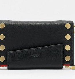 Hammitt Levy Crossbody Wallet Black Brush/Gold Red Zip