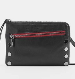 Hammitt Nash Leather Clutch Black/Gunmetal Red Zip Small