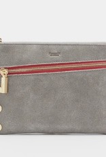Hammitt Nash Leather Clutch Pewter/Brush Gold Red Zip Small