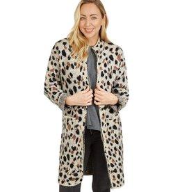 Helen Animal Print Zipper Coat Brown