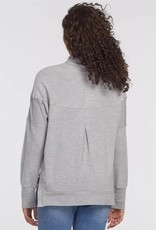 Tribal Hooded Top w/ Side Slits Grey Mix