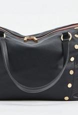 Hammitt Daniel Leather Tote Black/Brush Gold Red Zip Medium