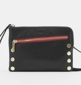 Hammitt Nash Leather Clutch Black/Brush Gold Red Zip Small