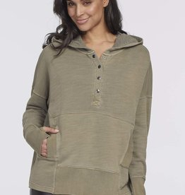 Tribal Hooded Top with Snaps Khaki