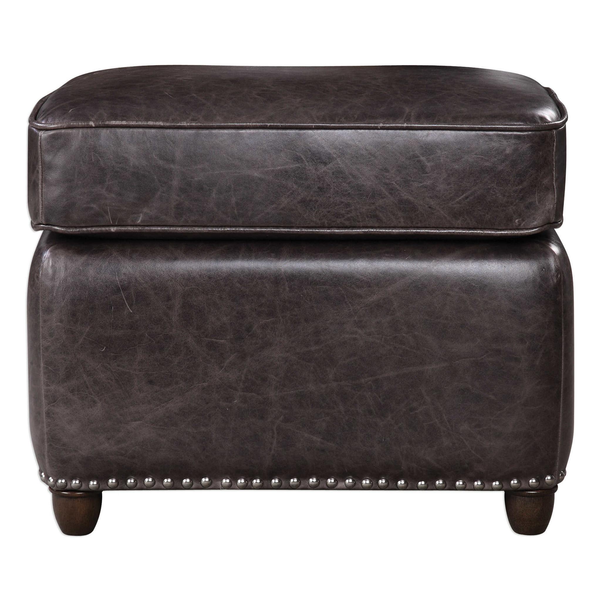 Roosevelt Leather Ottoman -Smoke
