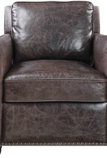 Roosevelt Leather Club Chair -Smoke