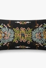 Embroidered Floral Pillow Black 12 x 27