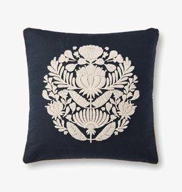 Antique Emb Design Pillow Black/Ivory  22 x 22