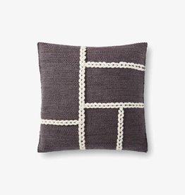 Raised Block Stitch Pillow Charcoal/Natural 18 x 18