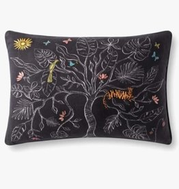 Embroidered Detail Tree Pillow Black - 16 x 26