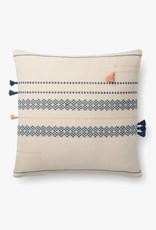 Striped Side Tassel Pillow Multi/Blue 18 x 18