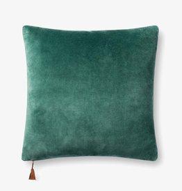 Velvet Pillow w/ Tassel Emerald/Amber 22 x 22
