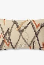 Shag Stitch Design Pillow Ivory/Multi - 13 x 21