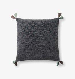 Four Corners Tassel Pillow Charcoal 18 x 18