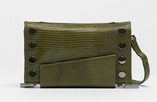 Hammitt Levy Crossbody Wallet Evergreen Lizard/Gumetal