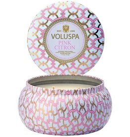Voluspa Printed Tin 2 Wick Candle Pink Citron