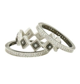 Freida Rothman Industrial Finish 3 Stack Rings - Diamond