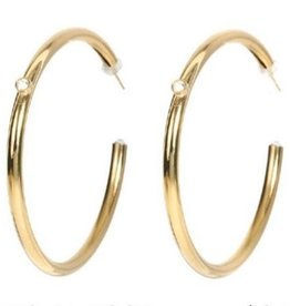 L George Crystal Hoop 14 KT Gold Plated