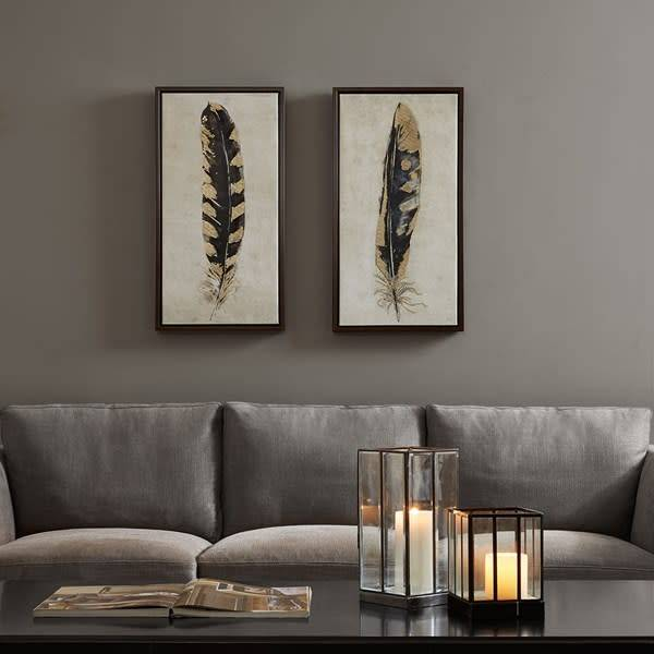 Gilded Feathers Printed Canvas With Gold Foil 2 Piece Set