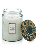 Voluspa French Cade & Lavender Large Embossed Jar Candle