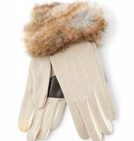 Echo Color Block Rabbit Fur Cuff Glove