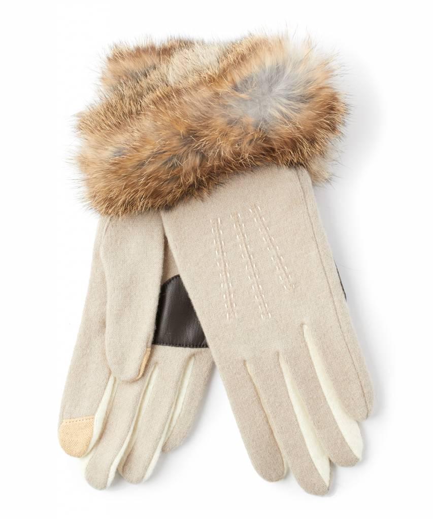 Echo Color Block Rabbit Fur Cuff Glove