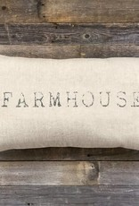 'Farmhouse' Natural Linen Lumbar Pillow 25 x 14""