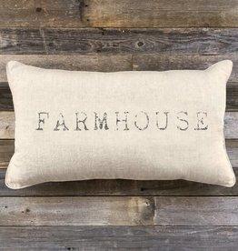 'Farmhouse' Natural Linen Lumbar Pillow - 25 x 14