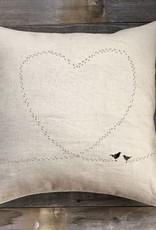 'Love Birds' Natural Linen Pillow 22 x 22