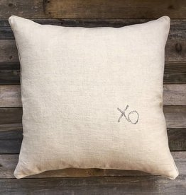 'XO' Natural Linen Pillow - 22 x 22