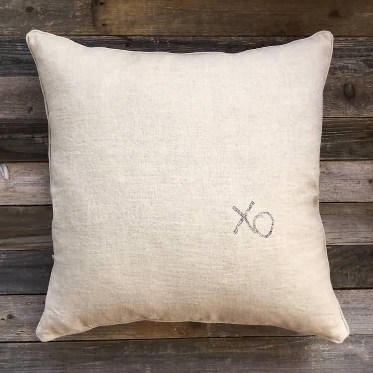 'XO' Natural Linen Pillow - 22 x 22