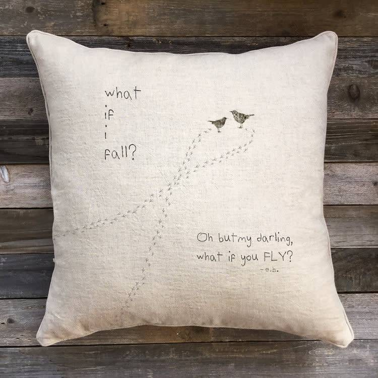 'What If' Natural Linen Pillow - 22 x 22