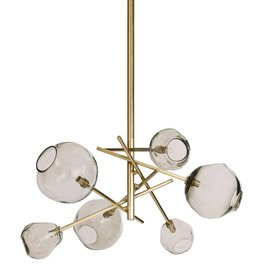 Molten Chandelier With Smoke Glass (Natural Brass)