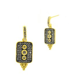 Freida Rothman Contemporary Deco Pave Drop Earrings