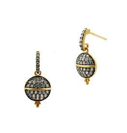 Freida Rothman Lattic Motif Pave Circle Drop Earrings