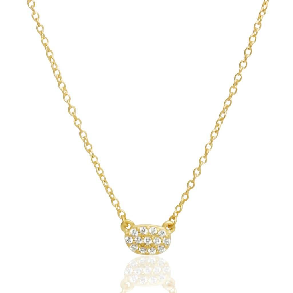 Freida Rothman Tiny Pave Oval Pendant Necklace