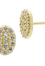 Freida Rothman Mini Oval Pave Stud Earrings