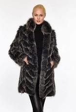 Linda Richards Reversible Chevron Fox Jacket Blk/Silv