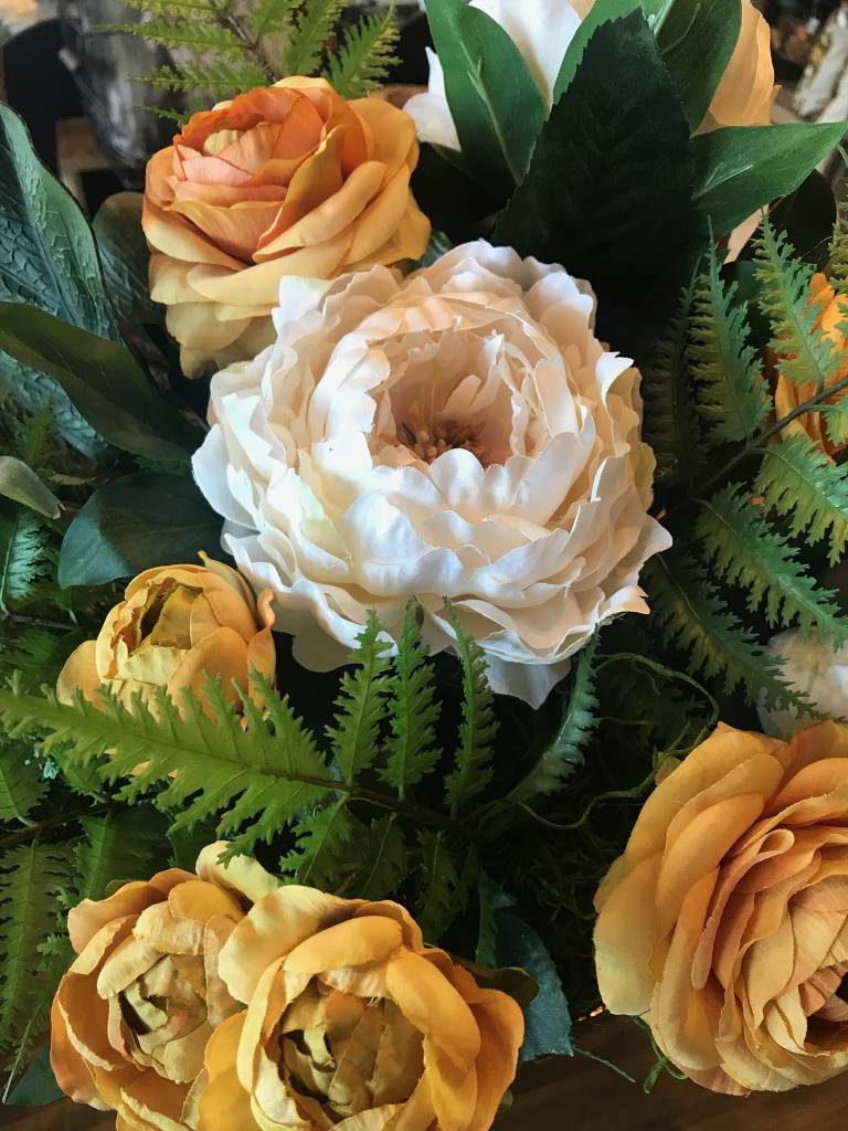 Peony and Ranuculus Old Gold Arrangment