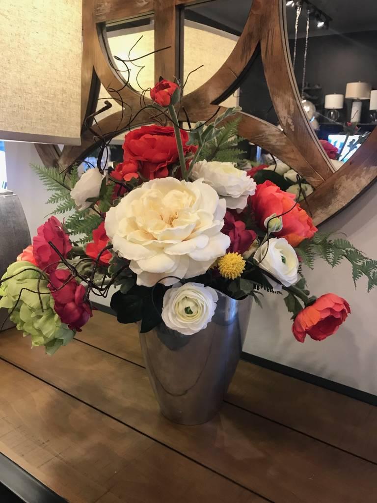 Bright Summer Mix in Silver Vase